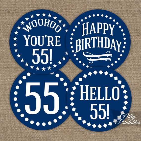 55th Birthday Toppers Navy Blue Cupcake