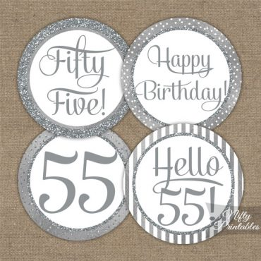 55th Birthday Toppers - Silver Cupcake Toppers