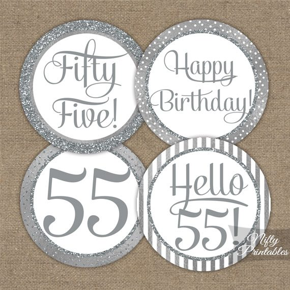 55th Birthday Toppers Silver Cupcake