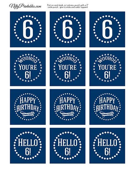 6th Birthday Toppers - Navy Blue Cupcake Toppers
