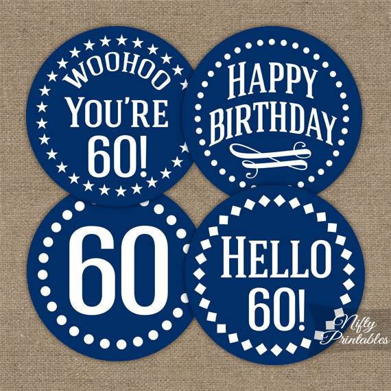60th Birthday Toppers Navy Blue Cupcake