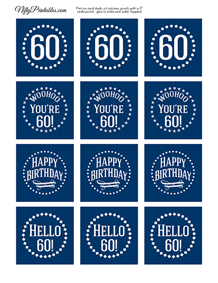 60th Birthday Toppers - Navy Blue Cupcake Toppers