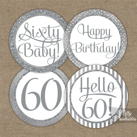 60th Birthday Toppers - Silver Cupcake Toppers