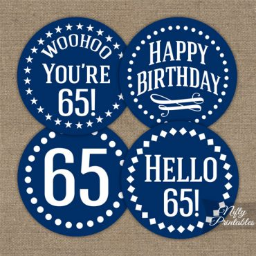 65th Birthday Cupcake Toppers - Navy Blue White Impact