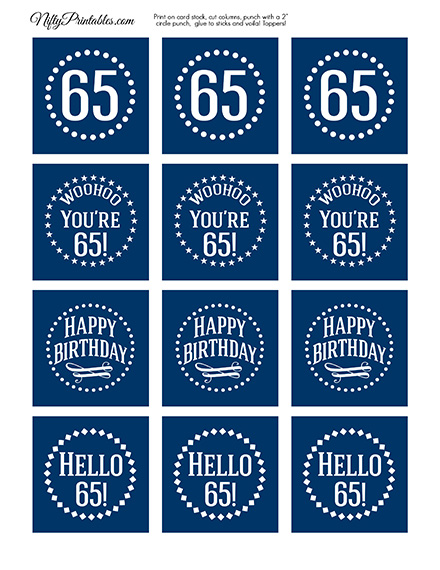 65th Birthday Toppers - Navy Blue Cupcake Toppers