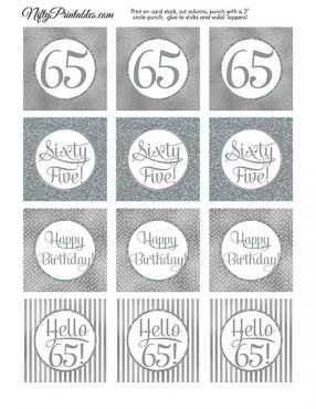 65th Birthday Toppers - Silver Cupcake Toppers