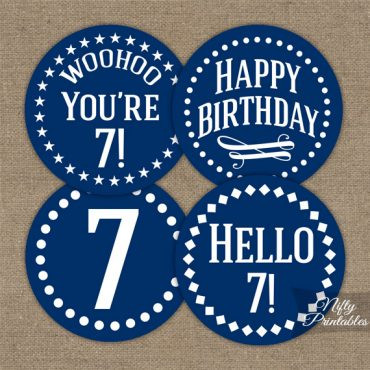 7th Birthday Cupcake Toppers - Navy Blue White Impact