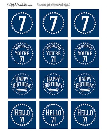7th Birthday Toppers - Navy Blue Cupcake Toppers