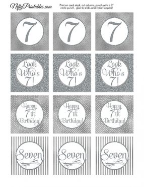 7th Birthday Toppers - Silver Cupcake Toppers