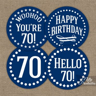 70th Birthday Cupcake Toppers - Navy Blue White Impact