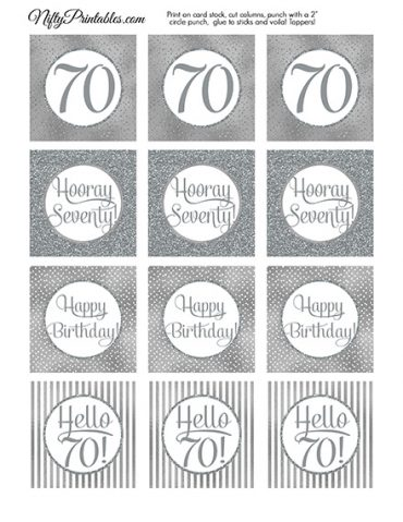 70th Birthday Toppers - Silver Cupcake Toppers