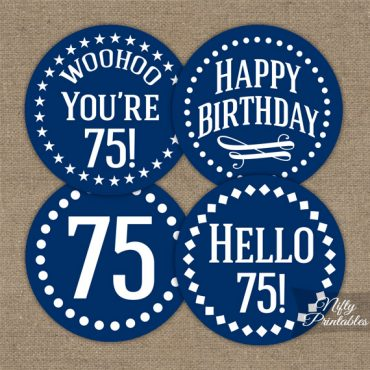 75th Birthday Cupcake Toppers - Navy Blue White Impact