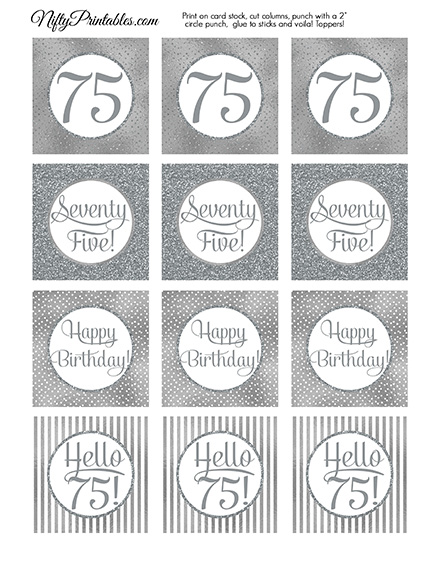 75th Birthday Toppers - Silver Cupcake Toppers