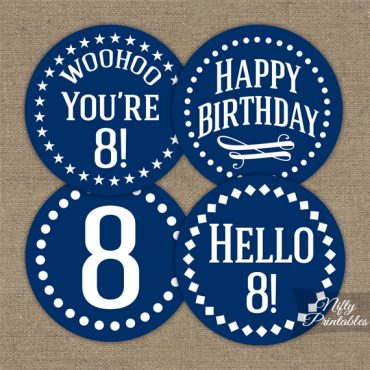 8th Birthday Cupcake Toppers - Navy Blue White Impact