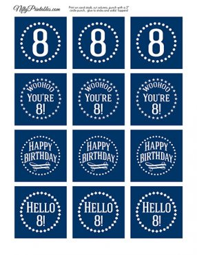 8th Birthday Toppers - Navy Blue Cupcake Toppers