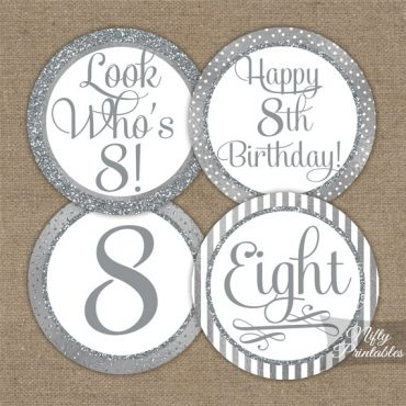 8th Birthday Toppers - Silver Cupcake Toppers
