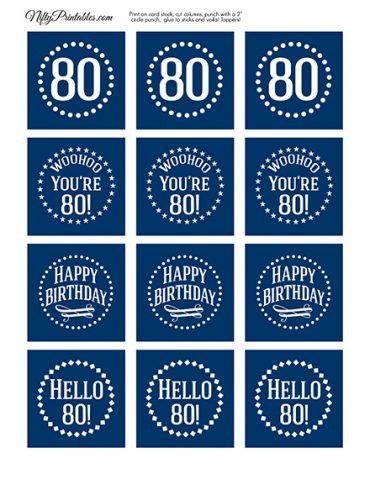 80th Birthday Toppers - Navy Blue Cupcake Toppers