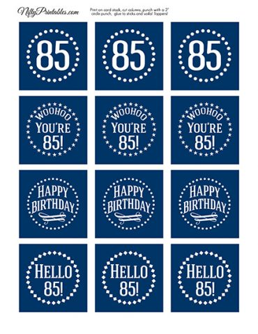 85th Birthday Toppers - Navy Blue Cupcake Toppers
