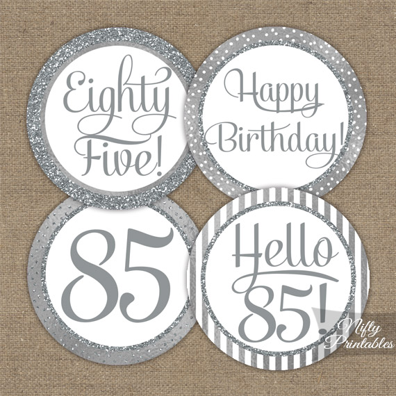 85th Birthday Toppers Silver Cupcake