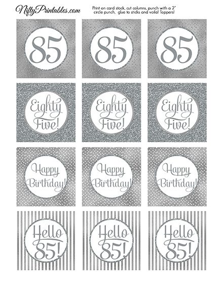 85th Birthday Toppers - Silver Cupcake Toppers
