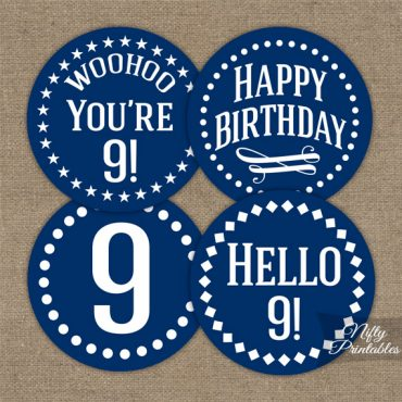 9th Birthday Cupcake Toppers - Navy Blue White Impact