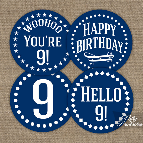 9th Birthday Toppers - Navy Blue Cupcake Toppers