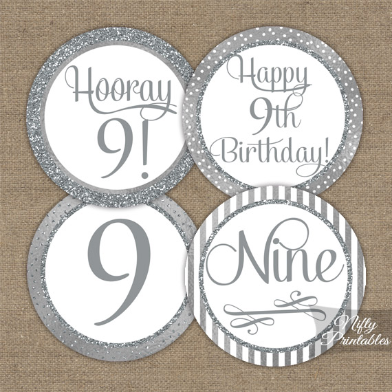 9th Birthday Toppers - Silver Cupcake Toppers