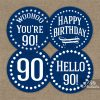 90th Birthday Toppers - Navy Blue Cupcake Toppers