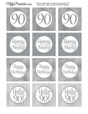 90th Birthday Toppers - Silver Cupcake Toppers