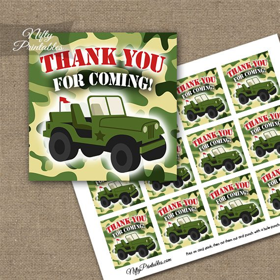 Army Green Camo Thank You Favor Tags