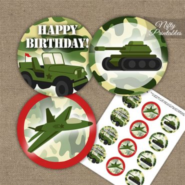 Army Green Camo Cupcake Toppers