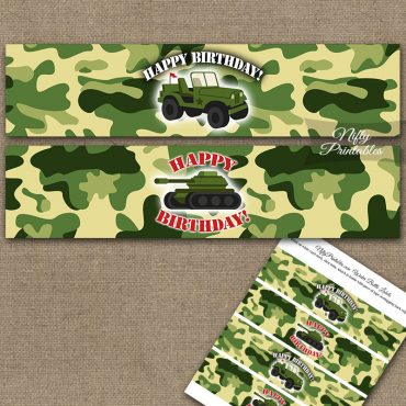 Army Green Camo Water Bottle Labels