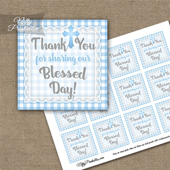 Baptism Blue Lace Thank You Favor Tags