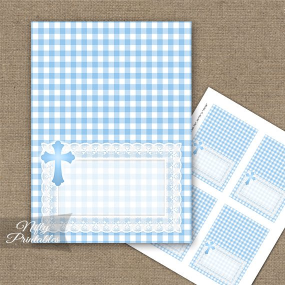 Baptism Blue Lace Folded Tent Place Cards