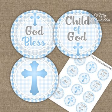 Baptism Blue Lace Cupcake Toppers