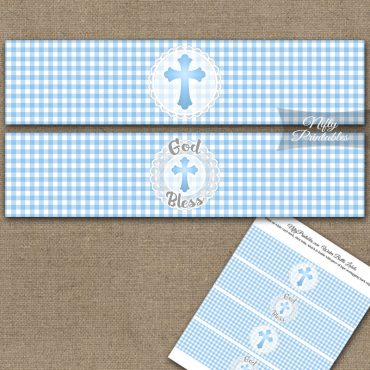 Baptism Blue Lace Water Bottle Labels
