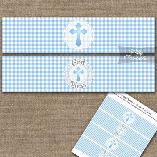 Baptism Blue Lace Water Bottle Labels