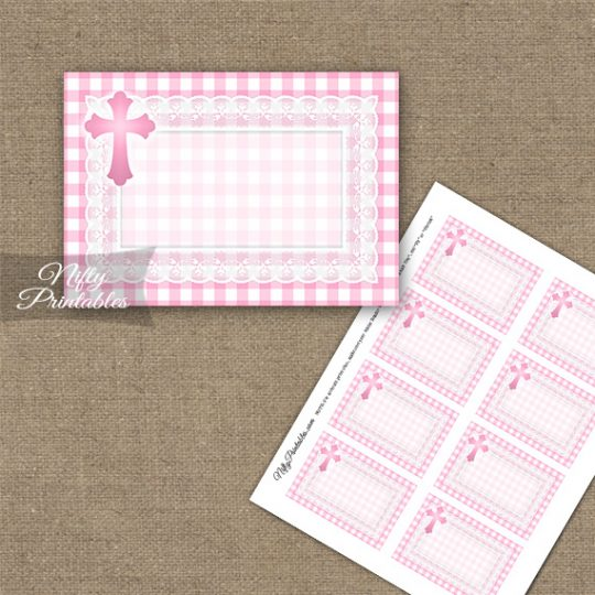 Baptism Pink Lace Blank Labels