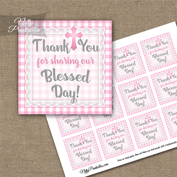 Baptism Pink Lace Thank You Favor Tags