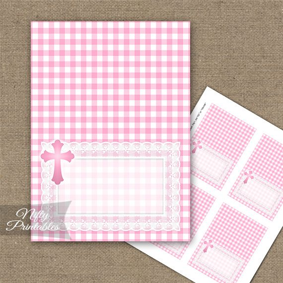 Baptism Pink Lace Folded Tent Place Cards