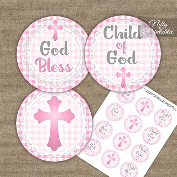 Baptism Pink Lace Cupcake Toppers