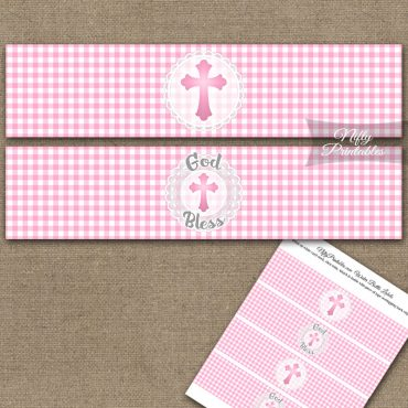 Baptism Pink Lace Water Bottle Labels