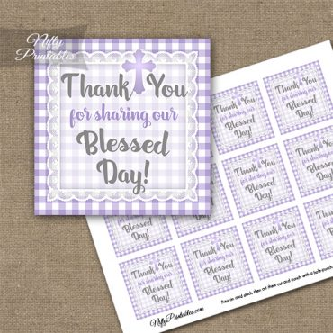 Baptism Purple Lace Thank You Favor Tags