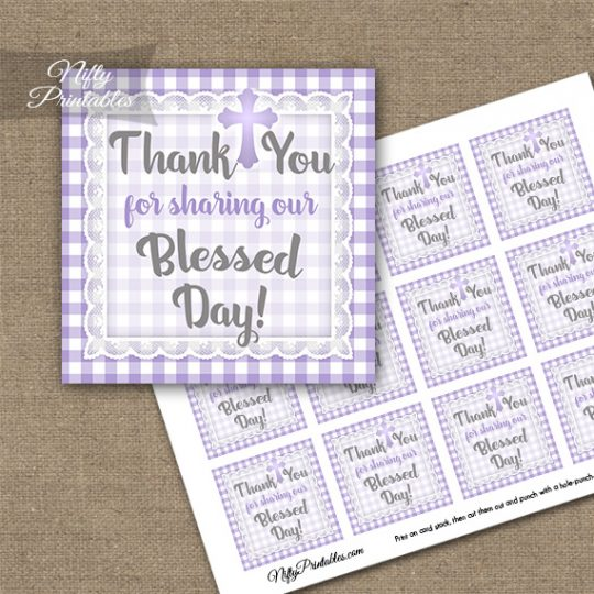 Baptism Purple Lace Thank You Favor Tags