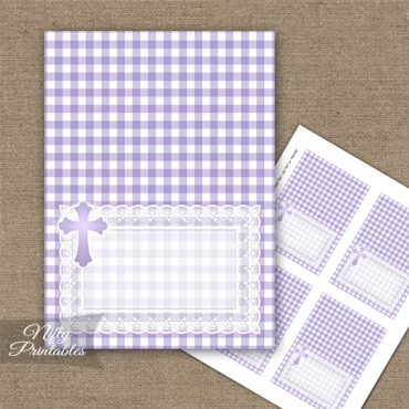 Baptism Purple Lace Folded Tent Place Cards