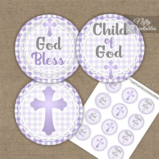 Baptism Purple Lace Cupcake Toppers