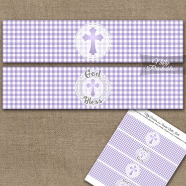 Baptism Purple Lace Water Bottle Labels