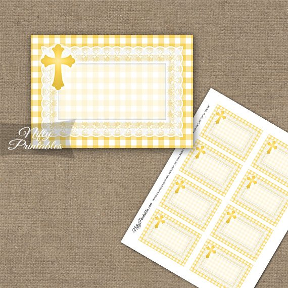 Baptism Yellow Lace Blank Labels