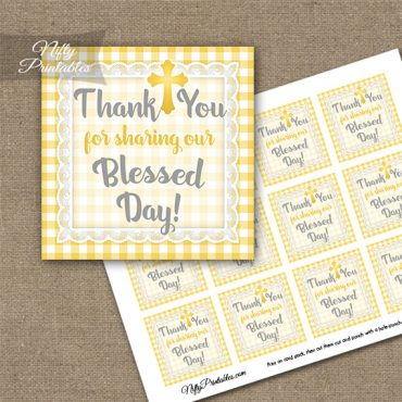 Baptism Yellow Lace Thank You Favor Tags