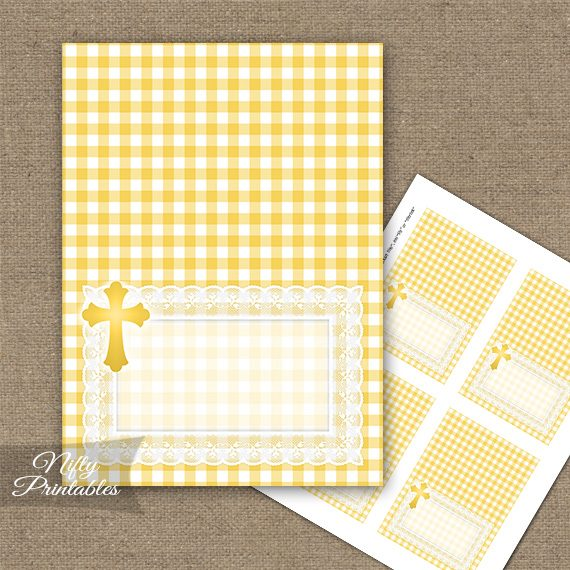 Baptism Yellow Lace Folded Tent Place Cards